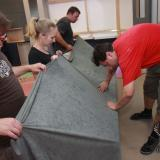 Polepování velícího bloku látkou | Glueing and wrapping the command block in fabric